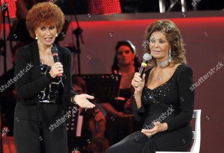 Stock Image of Sophia Loren with sister Maria Scicolone