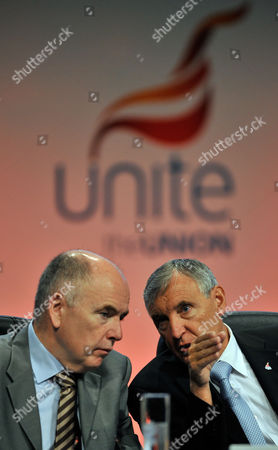 First Unite Union Policy Conference At Manchester Central Convention Centre. - Joint General Secretaries Tony Woodley (r) And Former Sec. Jack Dromey MP At Conference. 31/5/10