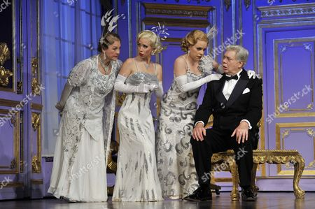 Gay Soper, Michelle Bishop and Jane Quinn as the 'Ladies of the Opera Guild' and Matthew Kelly as Henry Saunders