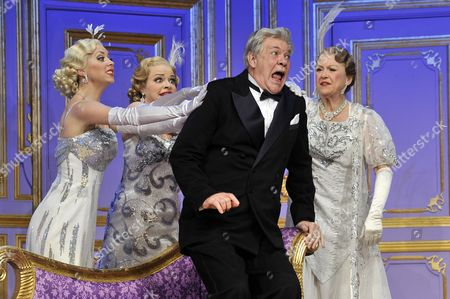 Michelle Bishop, Jane Quinn and Gay Soper as the 'Ladies of the Opera Guild' and Matthew Kelly as Henry Saunders