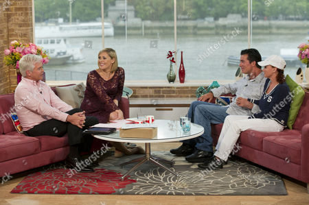 Stock Photo of Phillip Schofield and Jenni Falconer with Eddie Kidd with his wife Sami