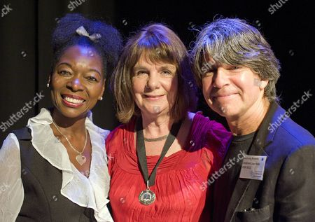 Baroness Floella Benjamin with the new Laureate Julia Donaldson and her predecessor Anthony Browne