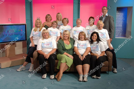 Front row FOUR seated (left to right) Ali Christensen, Fern Britton, Michelle Preston, Cathy Pates Middle row SIX (left to right) Susie Stubley, Mel Redding, Sally Ludlow, Pat Nelson, Lynn Muckett, Jill Lucas  Back row THREE (left to right) Julie Dawn Cole, Jacqueline Naudi, Professor Greg Whyte