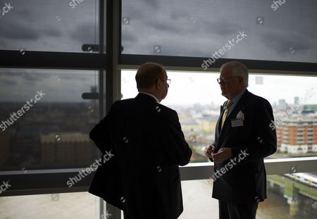 Peter Levene, chairman of Lloyd's of London in conversation with Sir Win Bischoff, chairman of Lloyds Banking Group in London, Britain