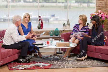 Phillip Schofield and Jenni Falconer with Sally Bercow and Samanthi