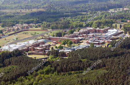 Aerial view of Broadmoor high-security psychiatric hospital at Crowthorne, England who's patients include Peter Sutcliffe, the Yorkshire Ripper and Charles Bronson. Crowthorne, Berkshire, England, Britain.