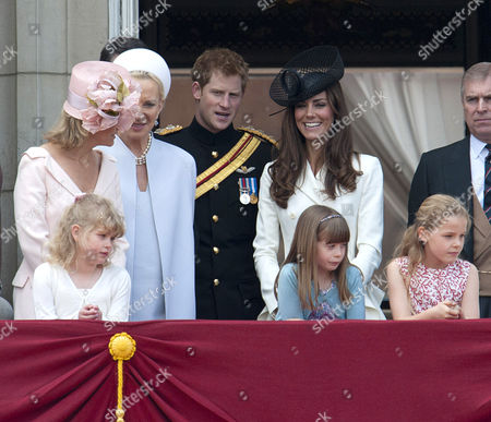 Sophie Countess of Wessex, Princess Michael of Kent, Prince Harry, Catherine Duchess of Cambridge and Prince Andrew, with Lady Louise Windsor, Eloise Taylor and Margarita Armstrong-Jones in the first row