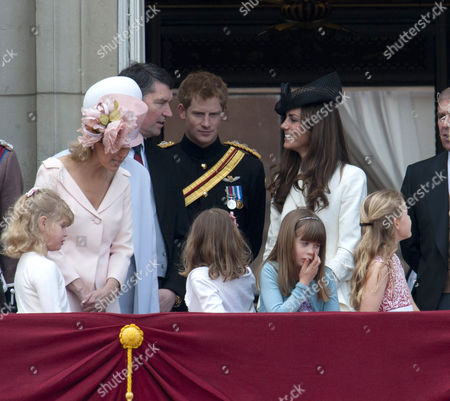 Lady Louise Windsor, Sophie Countess of Wessex, Tim Laurence, Prince Harry and Catherine Duchess of Cambridge with Lady Louise Windsor, Estella and Eloise Taylor and Margarita Armstrong-Jones in front row