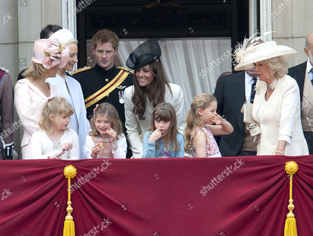 Sophie Countess of Wessex, Lady Louise Windsor, Princess Michael of Kent, Prince Harry, Catherine Duchess of Cambridge and Camilla Duchess of Cornwall with Lady Louise Windsor, Estella and Eloise Taylor and Margarita Armstrong-Jones in front row