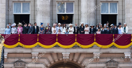 Princess Alexandra of Kent, Gary Lewis, Lady Helen Taylor, Prince Edward, Sophie Countess of Wessex, Lady Louise Windsor, Tim Laurence, Princess Michael of Kent, Estella Taylor, Catherine Duchess of Cambridge, Eloise Taylor, Camilla Duchess of Cornwall, Prince Michael of Kent, Sophie Winkleman, Princess Eugenie, Margarita Armstrong-Jones, Duchess of Kent, Viscount David Linley