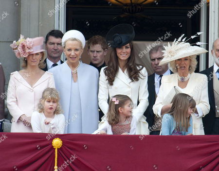 Sophie Countess of Wessex, Lady Louise Windsor, Tim Laurence, Princess Michael of Kent, Prince Harry, Catherine Duchess of Cambridge, Estella Taylor, Prince Andrew, Camilla Duchess of Cornwall, Eloise Taylor