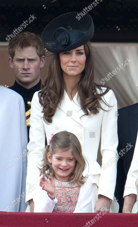 Prince Harry and Catherine Duchess of Cambridge with Estella Taylor, daughter of Lady Helen Taylor