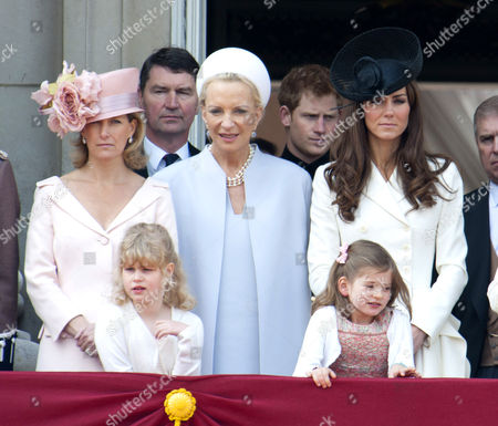 Sophie Countess of Wessex, Lady Louise Windsor, Tim Laurence, Princess Michael of Kent, Prince Harry and Catherine Duchess of Cambridge and Estella Taylor