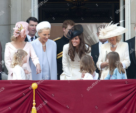 Sophie Countess of Wessex, Lady Louise Windsor, Tim Laurence, Princess Michael of Kent, Prince Harry, Catherine Duchess of Cambridge and Camilla Duchess of Cornwall with Lady Louise Windsor, Estella and Eloise Taylor in front row