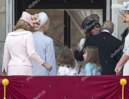A kiss from Prince Michael of Kent for Catherine Duchess of Cambridge as Princess Michael of Kent (L) looks on, Estella and Eloise Taylor