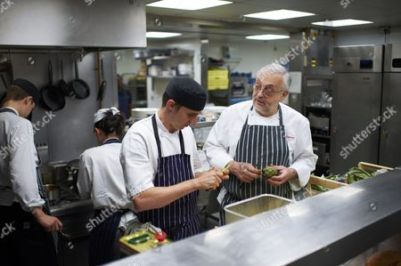 Pierre Koffman in the kitchen of his restaurant at the Berkeley Hotel, London, Britain