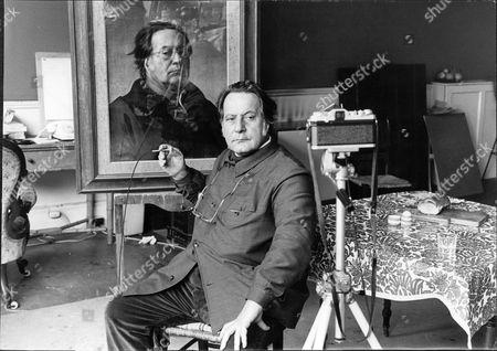 Royal Portrait Painter Pietro Annigoni With Self-portrait 1971.