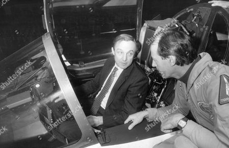 Secretary Of State For Defence George Younger In The Cockpit Of The Bac Eap Prototype At Bac's Wharton Plant Near Preston. Talking To Him Is Pilot Peter Orme. Bac (british Aircraft Corporation) Became Bae (british Aerospace) In 1977