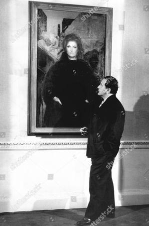 Artist Pietro Annigoni With His Portrait Sara Alobe