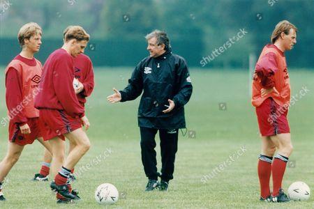 England Football Team Training. Kevin Richardson Terry Venables Stuart Pearce Warren Barton