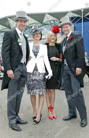Cricketer Michael Vaughan, wife Nicola Vaughan and Matthew Hoggard with wife Sarah Hoggard.