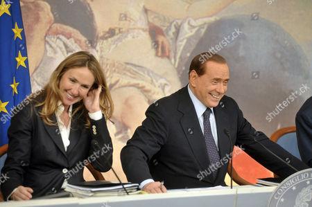 Minister of Environment Stefania Prestigiacomo and Prime Minister Silvio Berlusconi