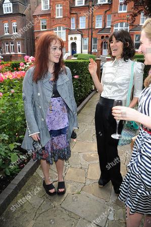 Stock Image of Helena Bonham Carter, Bella Freud and Susie Boyt