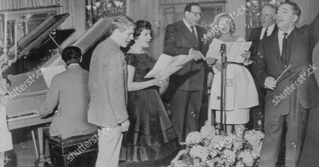 L To R: Adam Faith Connie Francis Edmundo Ros Joan Regan And Victor Silvester. Stars Singing At The Variety Club's Golden Disc Lunch