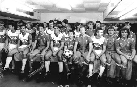 Everton And Liverpool Fc Players At Footballer Phil Neal's Testimonial 1985. Shows Phil Neal And Son Ashley Neal.