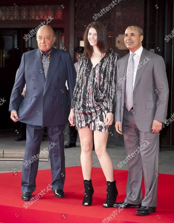 Gemma Arterton and Mohammed Al Fayed and guest