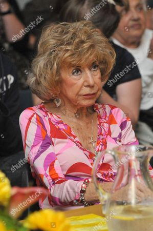 Stock Picture of Julie Cowell judging a singing contest in Rottingdean
