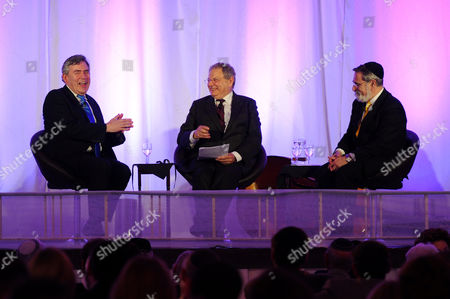 Stock Picture of Former Prime Minister Gordon Brown, Sir Martin Gilbert and Chief Rabbi Lord Jonathan Sacks