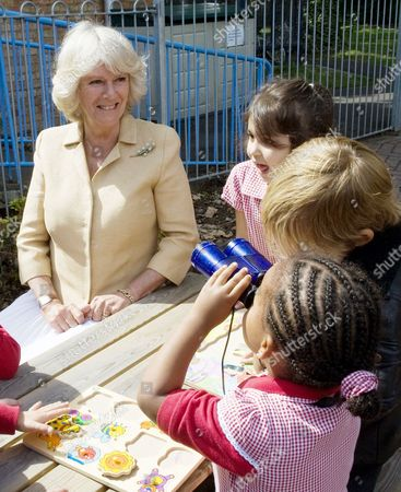 Camilla Duchess of Cornwall with pupils