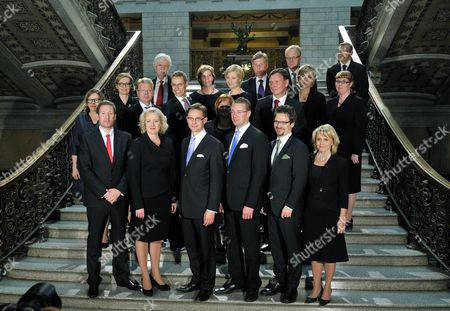 Stock Picture of The new Finnish government - Culture and Sports Minister Paavo Arhinmaki (1st row L), Finance Minister Jutta Urpilainen, Prime Minister Jyrki Katainen, Defence Minister Stefan Wallin, Environment Minister Ville Niinistö, Interior Minister Paivi Rasanen, Heidi Hautala (2nd row L vas.), Social Affairs and Health Minister Paula Risikko, Economic Affairs Minister Jyri Hakamies, Trade and Europe Affairs Minister Alexander Stubb, Housing and Communications Minister Kristina Kiuru, Education Minister Jukka Gustafsson, Foreign Minister Erkki Tuomioja (3rd row L), Justice Minister Anna-Maja Henriksson, Health and Social Services Minister Maria Guzenina-Richardson, Local Government Minister Henna Virkkunen, Transport Minister Merja Kyllonen, (back row L) Agriculture Minister Jari Koskinen and Labour Minister Lauri Ihalainen