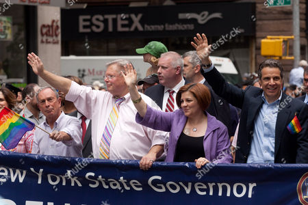 New York City Mayor Michael Bloomberg, guest, City Council Speaker Christine C. Quinn and New York Governor Andrew Cuomo