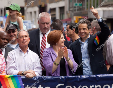 Stock Picture of New York City Mayor Michael Bloomberg, City Council Speaker Christine C. Quinn and New York Governor Andrew Cuomo