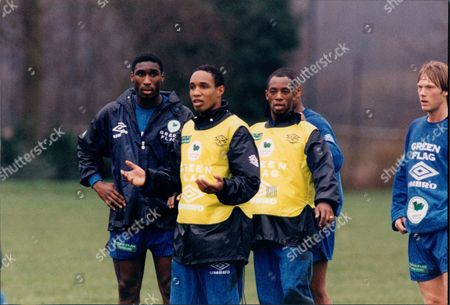 England Football Team Training 1995. Left To Right: Sol Campbell Paul Ince Ian Wright And Warren Barton.