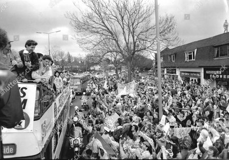Liverpool Football Team Homecoming After Winning The League And Fa Cup Queens Drive Jim Beglin With The Trophy And Gary Gillespie