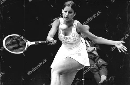 Chris Evert In Action Versus Rosemary Casals At Wimbledon.
