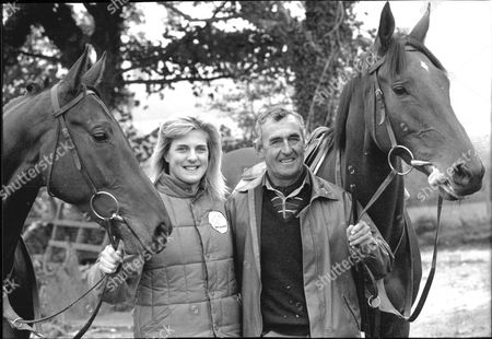 Kristina Gifford And Father Horse Trainer Josh Gifford With Horses 1989.