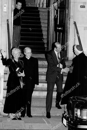 L To R: Katharine Duchess Of Kent Father Daniel Cronin Chancellor Of The Westminster Diocese The Duke Of Kent And Cardinal Basil Hume. The Duchess Became The First Roman Catholic Member Of The Royal Family In Modern Times.