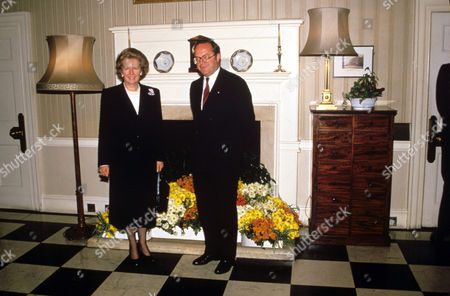 Stock Image of Margaret Thatcher and Wilfred Martens