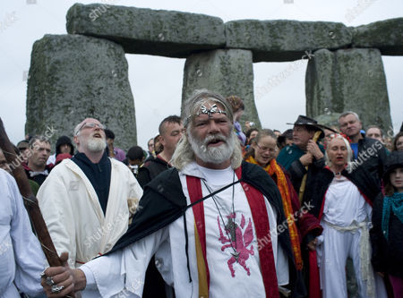 Arthur Uther Pendragon holds a ceremony at Stonehenge to mark the Summer Solstice