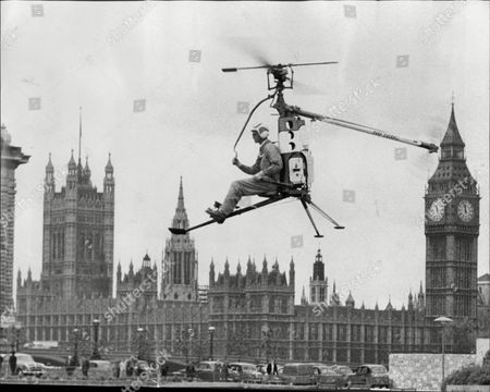 Stock Photo of Test Pilot Richard Peck Flying The Rotorcycle.