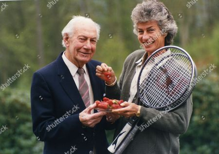 Stock Picture of Dan Maskell Tennis Commentator With Virginia Wade