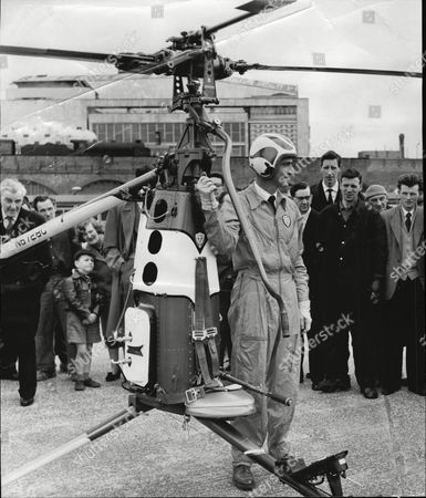 Stock Image of Major Richard Peck Demonstrates Rotorcycle One-man Helicopter 1958.