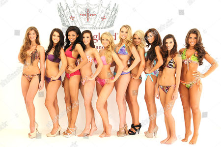 Stock Picture of L-R Miss Bath, Amy Willerton, Miss York, Annastasia Smith,Miss London,Rissikat Obade,Miss Harrogate,Alexandra Devine,Miss Lipsy, Courtenay Dodd,Miss Newcastle Hannah Gray, Miss Liverpool Sarah Farley,Miss Manchester,Nicola McConnell, Miss Fylde Coast,Sophie Leigh Anderson