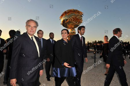 Frederic Mitterrand, French culture minister, Al Mayassa Bint Hamad Al-Thani, president of Quatar's musee and Jean-Jacques Aillagon, Chateau de Versailles'president. Opening of Takashi Murakami's exhibition at the Chateau de Versailles. This is the first major Murakami retrospective in France, filling15 rooms of the chateau. Murakami presents 22 major works, 11 of which have been created exclusively for this exhibition