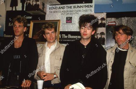 Stock Picture of Echo & the Bunnymen - Ian McCulloch (vocalist), Will Sergeant (guitarist), Les Pattinson (bassist) and Pete de Freitas (drummer).