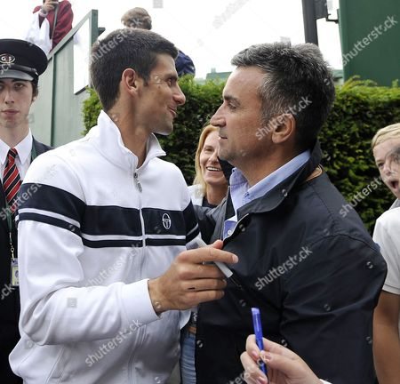 Novak Djokovic of Serbia leaves court 15 and meets his parents father Srdjan Djokovic and Mother Dijana Djokovic